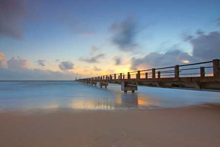 Nice sunset - quality, pier, sky, sea, tide, calm, sand, water, beaches, nature