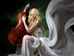 Girl in a white Dress with a cello