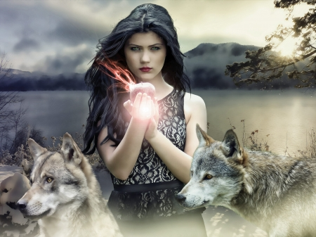 Girl Stands Among the Wolves
