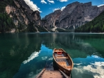 Boat on Lake Brijers,Dolomite's,Italy