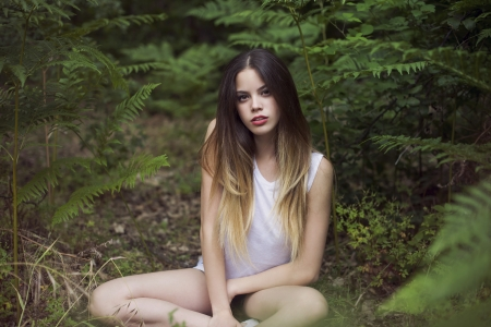 In the forest - girl, lovely, pretty, sweet