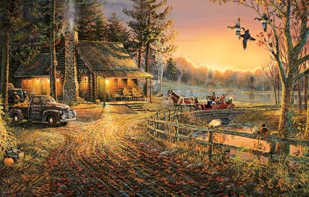 Autumn Ride - cart, cabin, sunset, trees, horse, artwork, bridge, car, painting, river, vintage
