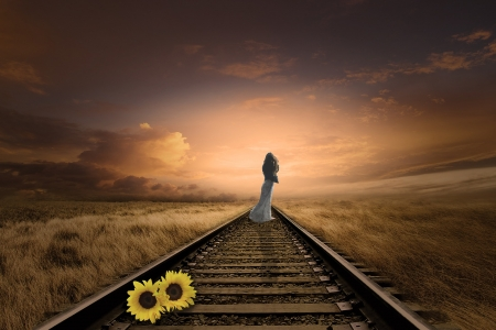 Go forward - Sunflowers, Woman, Railway track, Sunset