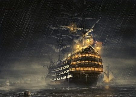 Waiting Out The Storm - galleon, water, boat, ship, rain, sail, flag