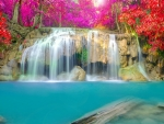Beautiful Waterfalls with Flowers