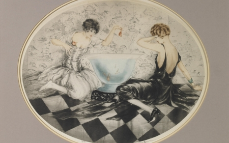 Goldfish - art, fish, bath, gold, louis icart, girl, painting, pictura, couple, vintage