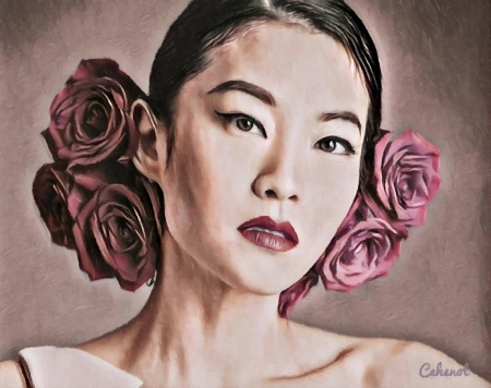 Arden Cho - art, rose, by cehenot, cehenot, Arden Cho, girl, actress, painting, flower, asian, face, portrait, pictura, pink