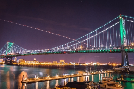 Ben Franklin Bridge - colorful, bridge, night, light