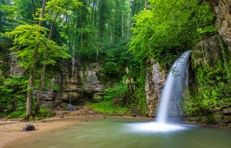 Forest fall - forest, rocks, greenery, waterfall, beautiful, park