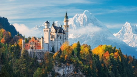 Neuschwanstein Castle in Germany - snow, houses, sky, castle, mountains, nature, germany, autumn