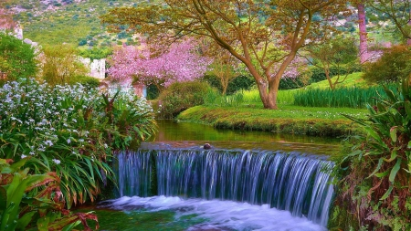 Waterfall in Spring - park, river, trees, blossoms