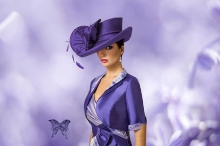 La Femme Headdress Purple Glam - pretty, lovely, beautiful, women are special, lips nails eyes hair art, glamorous, hat, women are a mystery, butterfly, purple, glam women, lafemme portrait, female trendsetters, lafemme headdress