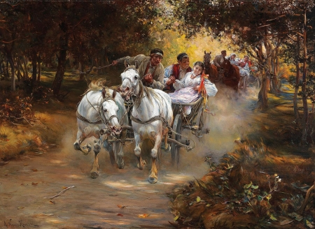 Countryside Marriage - people, pair, horses, cart, painting