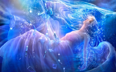 Angel in Water - fantasy, wings, Angel, dreamy, water, blues