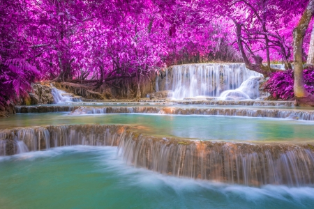 ♥ - waterfall, nature, trees, flowing