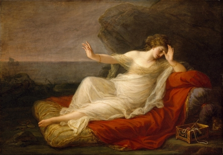 Ariadne abandoned by Theseus - red, art, luminos, girl, painting, theseus, angelica kauffmann, pictura, ariadne