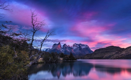Mountains Under The Blue Sky - mountains, nature, reflection, clouds, sky, pink, lake, blue