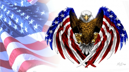 God Bless the USA - Memorial Day, patriotic, eagle, collage, Veterans Day, red white and blue, flag, ffade, bird, Independence Day, 4th of July, patriot, Firefox Persona theme