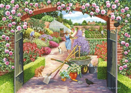Walled Garden - cart, lavender, roses, woman, artwork, painting, flowers, path, dog