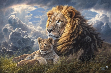 Like Father and Son - cub, lion, sky, clouds, painting, artwork