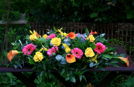 Table of Beauty - fence, table, colorful, flowers, beauty, bright, trees
