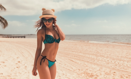 Unknown Model - babe, model, ocean, woman, hat, sea, beach, sand, water, gorgeous