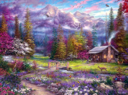 Inspirations of Spring - bridge, mountains, painting, birds, creek, cabin, trees, deer