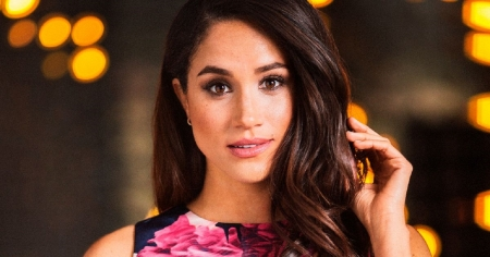 Meghan Markle - brunette, earrings, portrait, flower pattern dress, brown eyes