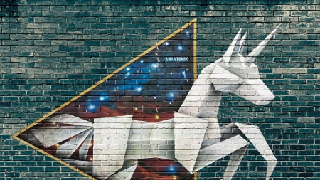 Papaer unicorn - art, grafitti, unicorn, paper, wall