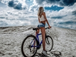 With her bike