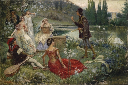 Edwardian Day by the Lake - red, hats, gowns, musical instruments, man, dresses, lake, elegant, women, jewelry, Edwardian era, Salvatore Postiglion, painting, flowers, historical