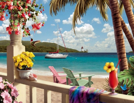 Tropical Paradise - palmtrees, hummingbird, sky, clouds, artwork, armchairs, lighthouse, sea, beach, boat, e, painting, flowers, drink