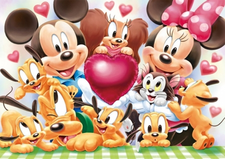 Disney babies - dinsey, mickey mouse, baby, cute, fantasy, mouse, heart, child, kitten, minnie, pink, puppy