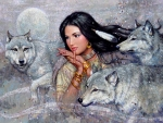Native american girl and wolves