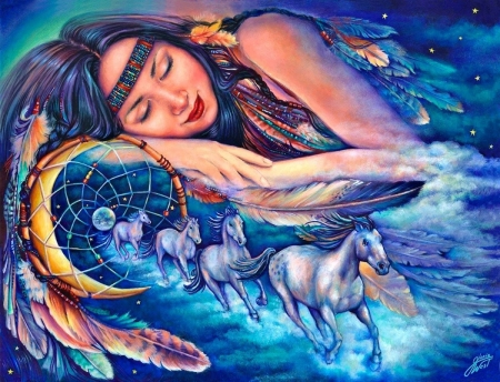 Native's dream - luminos, girl, painting, pictura, native american, horse, dream, blue