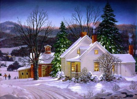 Cold Winter's Eve - snow, houses, winter, christmas, sunset, mountains, trees