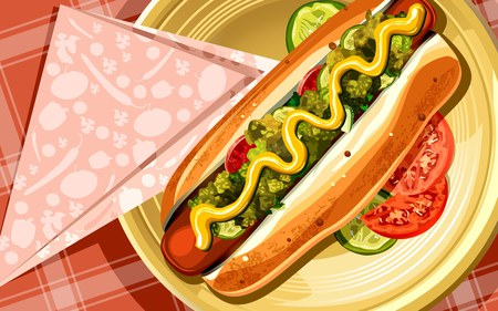 Delicious Hot dog - hot dog, sausage, food, bread, eat