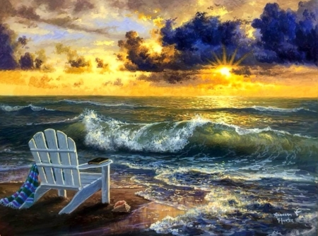 Sunset of Relaxing - love four seasons, attractions in dreams, waves, sky, clouds, sea, paintings, beaches, sunsets, seaside, summer, chair, nature