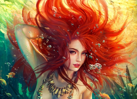 Mermaid - underwater, frumusete, luminos, redhead, mermaid, fantasy, vara, summer, mario wibisono