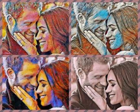 Meghan and Harry - art, royal wedding, Meghan and Harry, Meghan Markle, collage, by cehenot, cehenot, painting, pictura