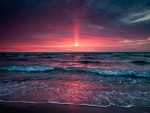 Red Sky Above the Ocean