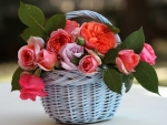 Wicker Basket with Roses