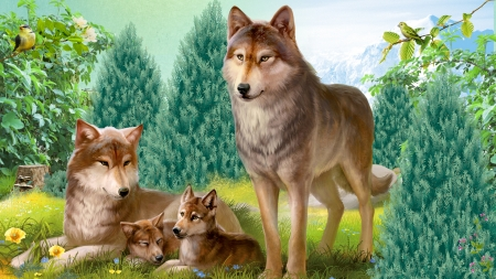 Wolf Family Paradise - family, forest, lobo, woods, trees, loup, bird, mountains, wolf, wolves, field, Firefox Persona theme, pups