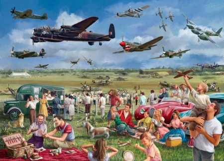 Airplane Show - show, watchers, airplane, puzzle