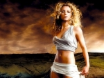 Britney Spears with stormy landscape