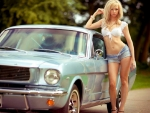 Model and her Blue Mustang