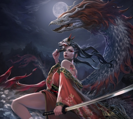 Dragon Lady - red, luna, legend of the cryptids, dragon, fantasy, moon, kiyocat illust, girl, mask, blue, loc