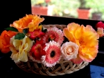 Basket with Gerberas and Roses