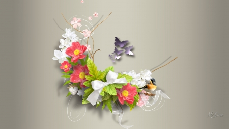 Summer Cluster - ribbon, butterflies, spring, bow, floral, twigs, bird, summer, blossoms, flowers, blooms, Firefox Persona theme