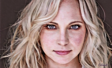 Candice Accola King - vampire diaries, blonde, by cehenot, cehenot, caroline, girl, actress, painting, face, pictura, Candice Accola King, pink, portrait